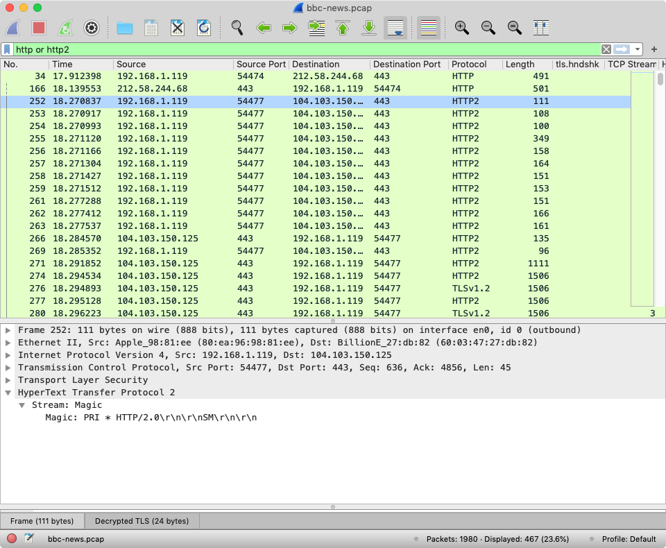 Wireshark showing a decrypted packet capture for bbc.co.uk/news