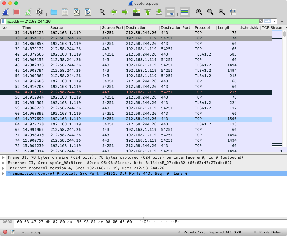 Wireshark showing an encrypted packet capture for bbc.co.uk/news